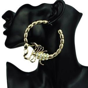 Jewelry - Gold Rhinestone Scorpion Hoop Earrings Trendy